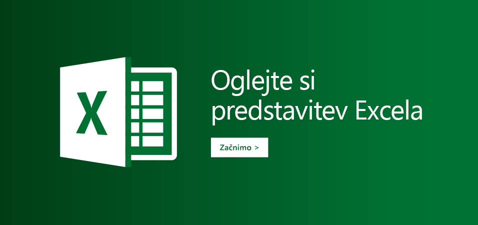 Predstavitev predlog za Excel