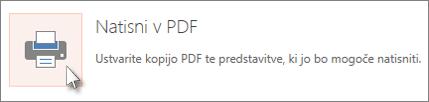 Tiskanje diapozitivov kot datoteko PDF