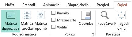 Postavitve diapozitivov lahko prilagodite v pogledu matrice diapozitiva
