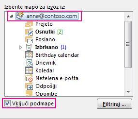 Pogovorno okno »Izvoz Outlookove podatkovne datoteke« z izbrano zgornjo mapo in potrjenim poljem »Vključi podmape«
