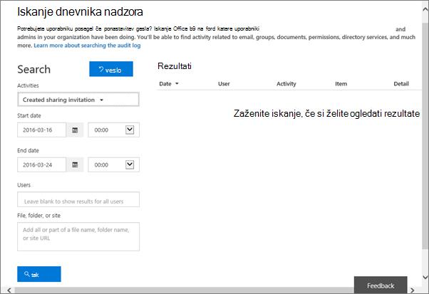 Poročilo o dejavnostih storitve Office 365, filtrirano po ustvarjenih povabilih