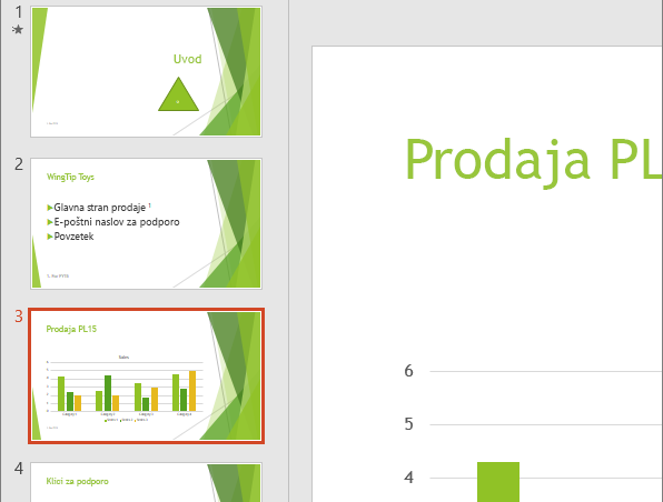Prikazuje podokno z diapozitivi z izbranim tretjim diapozitivom v PowerPointu