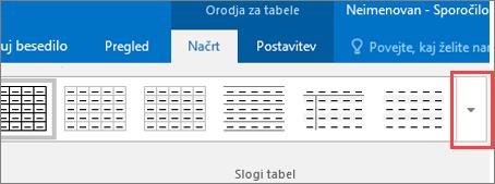 Posnetek zaslona prvih šestih slogov tabele in gumba »Več«, da si ogledate vse sloge tabele.