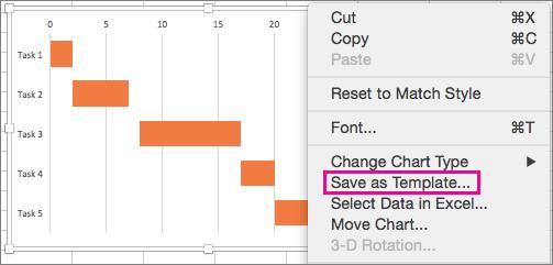 Pridržite tipko COMMAND in kliknite grafikon, nato pa izberite »Shrani kot predlogo«.