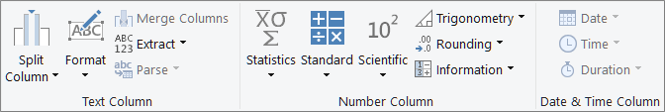 The data type groups on the Add Column ribbon tab