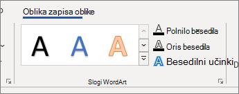Skupina» slogi WordArt «v razdelku» možnosti «
