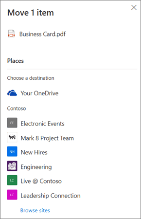 Posnetek zaslona izbiranja cilja med premikanjem datoteke iz OneDrive v SharePoint