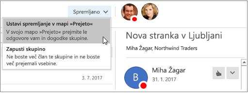 Gumb za naročnino v glavi skupin v programu Outlook 2016