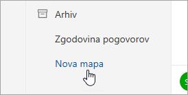 Posnetek zaslona gumba »Nova mapa«