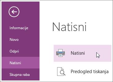 V meniju »Natisni« lahko natisnete strani programa OneNote