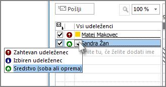 Kliknite ikono na levi strani imena in nato »Vir«