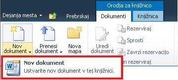 Dodajanje novega dokumenta v knjižnico dokumentov