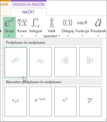 Gumb »Nadpisano« v orodni vrstici z enačbami