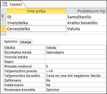 Veljavnostno pravilo polja, prikazano v Accessovem Načrtovalniku tabel