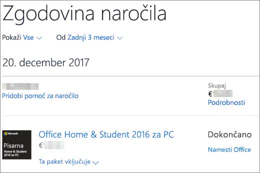 Prikazuje stran z zgodovino naročil v trgovini Microsoft Store