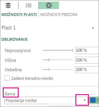 Polje s seznamom »Podatkovna serija« za spustni seznam »Barva«