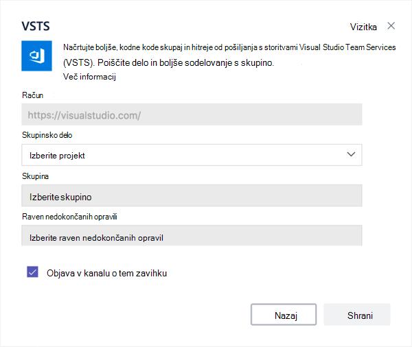 Visual Studio pogovornega okna za dodajanje Kanban table na zavihek