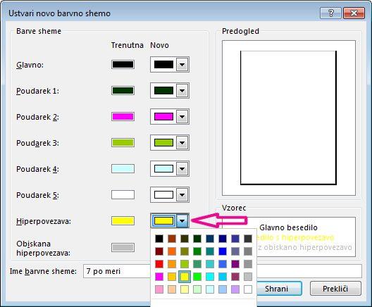 Če želite spremeniti barve hiperpovezave, ustvarite novo barvno shemo v programu Publisher
