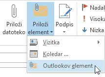 Ukaz »Priloži Outlookov element« na traku