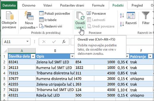 Excelova preglednica z uvoženim seznamom in označenim gumbom »Osveži vse«.