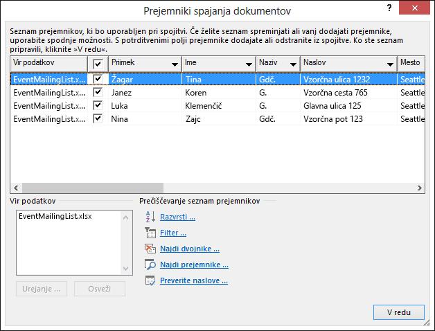 Pogovorno okno »Prejemniki spajanja dokumentov«, ki prikazuje vsebino Excelove preglednice, ki se uporablja kot vir podatkov za poštni seznam