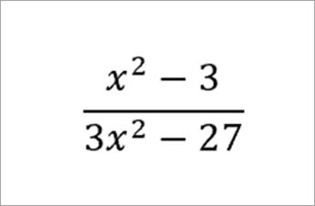 equation: x squared minus 3 over 3x squared minus 27