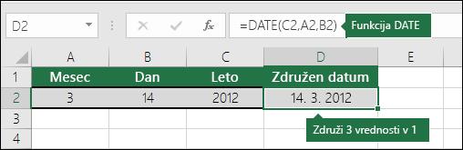 Funkcija DATE, primer 2