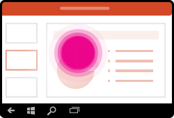 PowerPoint za Windows Mobile gesta izbor izbrisa besedila