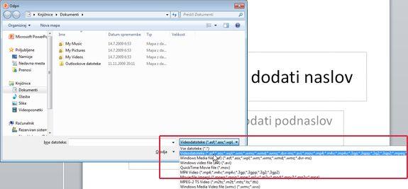 Odpiranje datoteke programa PowerPoint 2010.