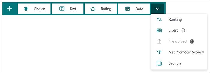 Možnosti vrste vprašanja v aplikaciji Microsoft Forms