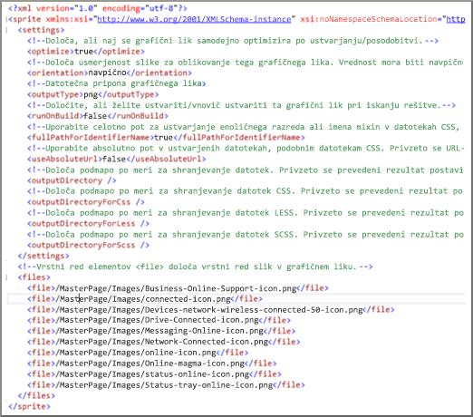 Posnetek zaslona datoteke sprite XML