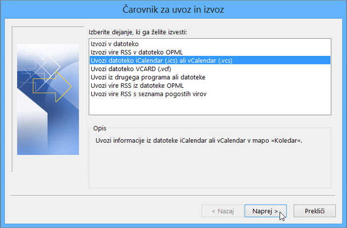 Izberite »Uvozi datoteko iCalendar ali vCalendar«.