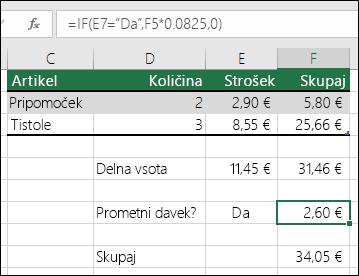 """Formula v celici F7 je IF(E7=""""Da"""",F5*0.0825,0)"""