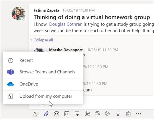 Izberite datoteko, ki jo želite dodati v sporočilo v ekipi za predavanje