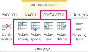 Slika možnosti postavitve za dodajanje vrstic in stolpcev v tabele