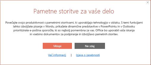 Pogovorno okno za privolitev v sodelovanje za pametne storitve sisteme Office