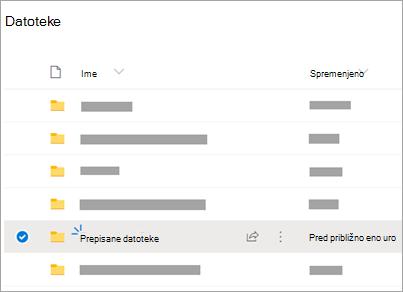 OneDrive map z vidno mapo »Prepisana datoteka«