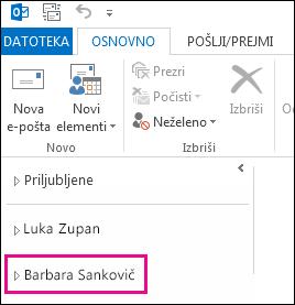 Na seznamu map v programu Outlook 2013 se prikaže mapa v skupni rabi