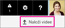 Gumb za nalaganje videov v portalu Office 365 Video