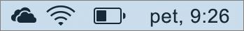Ikona storitve OneDrive v sistemski vrstici za Mac