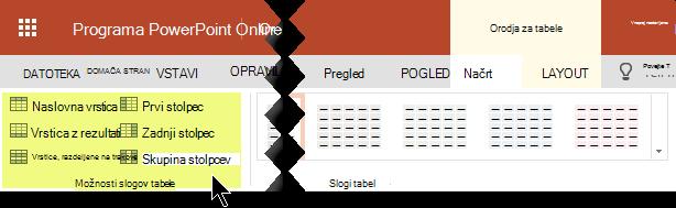 Določenih vrstic ali stolpcev v tabeli lahko dodate senčenje sloge.