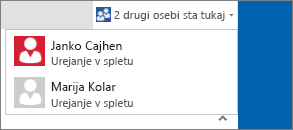 Spustni seznam v pogovornem oknu, ki prikazuje, kdo ureja dokument