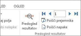 Posnetek zaslona zavihka »Pošiljanje« v Wordu, ki prikazuje skupino »Predogled rezultatov«.