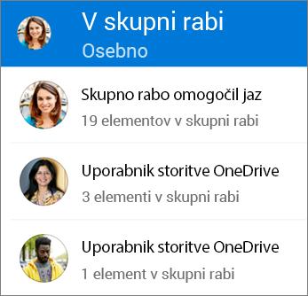 Pogled datotek v skupni rabi v aplikaciji OneDrive za Android