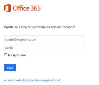 stran za vpis portal.office.com