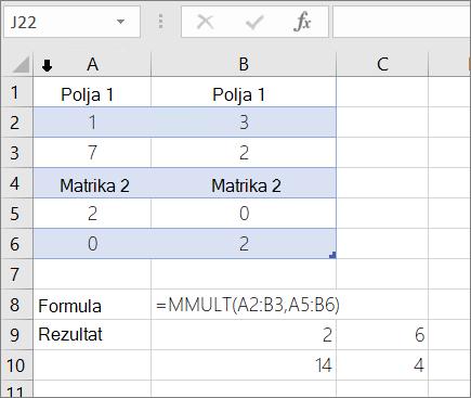 Funkcija MMULT – 1. primer