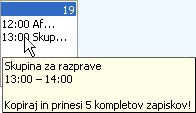 Pojavno okno z informacijami o sestanku
