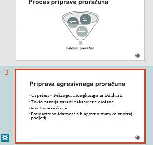 Označevanje revizij v podoknu s sličicami PowerPointa