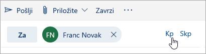 Posnetek zaslona gumbov »Kp« in »Skp«