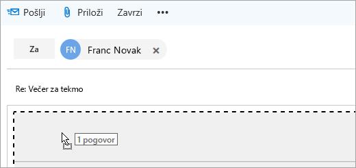 Posnetek zaslona sporočila med vlečenjem v podokno za sestavljanje